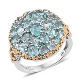 Madagascar Paraiba Apatite 14K YG and Platinum Over Sterling Silver Cluster Ring (Size 7.0) TGW 5.46 cts.