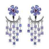 Premium AAA Tanzanite, Ruby Platinum Over Sterling Silver Ear Jacket Earrings TGW 3.830 Cts.