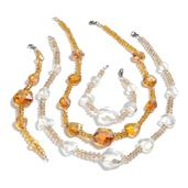 Champagne and White Glass Silvertone Set of 2 Bracelets (7.5 in) and Necklaces (20.00 In)