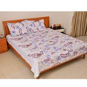 White Floral Print Microfiber Quilt and Set of 2 Shams (King)