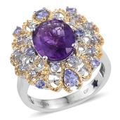 GP Amethyst, Tanzanite, Kanchanburi Blue Sapphire 14K YG and Platinum Over Sterling Silver Pierced Ring (Size 7.0) TGW 5.16 cts.