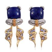 GP Lapis Lazuli, Tanzanite 14K YG Over Sterling Silver Bow Drop Earrings TGW 14.850 Cts.