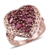 Pink Tourmaline 14K RG Over Sterling Silver Openwork Heart Ring (Size 9.0) TGW 3.030 cts.