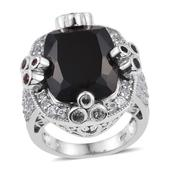 Thai Black Spinel, Multi Sapphire, White Topaz Platinum Over Sterling Silver Statement Ring (Size 9.0) TGW 31.500 cts.