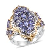 Tanzanite 14K YG and Platinum Over Sterling Silver Openwork Elongated Ring (Size 9.0) TGW 4.03 cts.