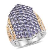 Tanzanite 14K YG and Platinum Over Sterling Silver Cluster Ring (Size 8.0) TGW 4.550 cts.