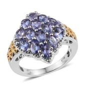 Tanzanite 14K YG and Platinum Over Sterling Silver Ring (Size 5.0) TGW 3.450 cts.