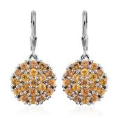 Yellow Sapphire Platinum Over Sterling Silver Lever Back Earrings TGW 4.560 Cts.