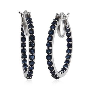 Doorbuster Kanchanaburi Blue Sapphire Platinum Over Sterling Silver Inside Out Hoop Earrings TGW 4.800 Cts.