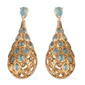 Jewel Studio by Shweta Madagascar Paraiba Apatite 14K YG Over Sterling Silver Earrings TGW 4.900 Cts.