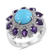 Arizona Sleeping Beauty Turquoise, Amethyst, White Topaz Platinum Over Sterling Silver Statement Ring (Size 8.0) TGW 9.82 cts.