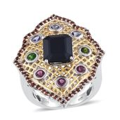 Kanchanaburi Blue Sapphire, Multi Gemstone 14K YG and Platinum Over Sterling Silver Elongated Ring (Size 6.0) TGW 7.01 cts.