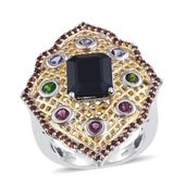 Kanchanaburi Blue Sapphire, Multi Gemstone 14K YG and Platinum Over Sterling Silver Elongated Ring (Size 8.0) TGW 7.01 cts.