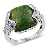 Mojave Green Turquoise, Russian Diopside, White Topaz Platinum Over Sterling Silver Ring (Size 9.0) TGW 11.970 cts.