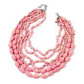 SUGAR by Gay Isber Pink Howlite Stainless Steel Bead Drape Necklace (18-20 in) TGW 1600.000 Cts.