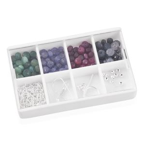 LC DIY Multi Gemstone Sterling Silver Findings with Roundelle Beads TGW 72.000 cts.