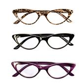 Cheetah Print, Black, and Voliet Set of 3 Cat Eye Reader Glasses +2.5