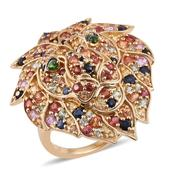 Multi Gemstone 14K YG Over Sterling Silver Lion Ring (Size 7.0) TGW 3.97 cts.