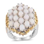 Australian White Opal 14K YG and Platinum Over Sterling Silver Cluster Ring (Size 9.0) TGW 4.750 cts.