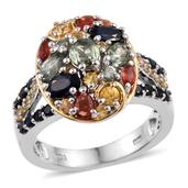 Multi Sapphire 14K YG and Platinum Over Sterling Silver Cluster Ring (Size 7.0) TGW 3.580 cts.