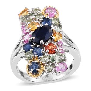 Multi Sapphire 14K YG and Platinum Over Sterling Silver Split Elongated Ring (Size 6.0) TGW 5.51 cts.
