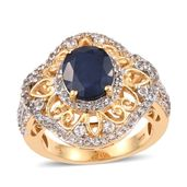 Kanchanaburi Blue Sapphire, White Topaz 14K YG Over Sterling Silver Openwork Ring (Size 9.0) TGW 6.05 cts.
