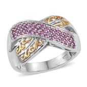 Madagascar Pink Sapphire 14K YG and Platinum Over Sterling Silver Openwork Criss Cross Ring (Size 8.0) TGW 0.600 cts.