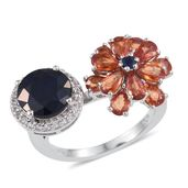 Multi Sapphire, White Topaz Platinum Over Sterling Silver Ring (Size 6.0) TGW 6.61 cts.