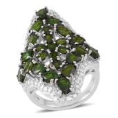 Russian Diopside Sterling Silver Openwork Elongated Ring (Size 10.0) TGW 9.62 cts.