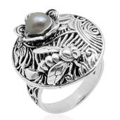Pearl Expressions Freshwater Pearl Sterling Silver Round Engraved Ring (Size 7.0) TGW 2.750 cts.
