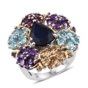 Kanchanaburi Blue Sapphire, Multi Gemstone 14K YG and Platinum Over Sterling Silver Statement Floral Cluster Ring (Size 7.0) TGW 11.94 cts.