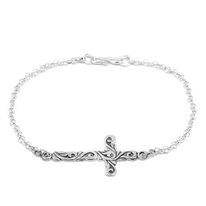 Bali Legacy Collection Sterling Silver Cross Bracelet (7.50 In, 2.2 g ) (7.50 In)