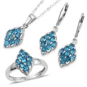 Malgache Neon Apatite Platinum Over Sterling Silver Lever Back Earrings, Ring (Size 5) and Pendant With Chain (20 in) TGW 3.000 Cts.