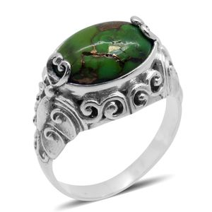 Bali Legacy Collection Mojave Green Turquoise Sterling Silver Ring (Size 6.0) TGW 6.003 cts.