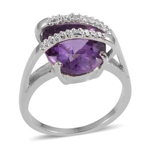 Amethyst, Diamond Accent Sterling Silver Solitaire Brige Ring (Size 6.0) TGW 4.02 cts.