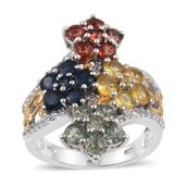Multi Sapphire, White Topaz 14K YG and Platinum Over Sterling Silver Ring (Size 8.0) TGW 4.694 cts.