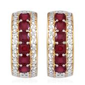 Niassa Ruby 14K YG and Platinum Over Sterling Silver Earrings TGW 9.240 Cts.