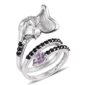 KARIS Collection - Rose De France Amethyst, Thai Black Spinel Platinum Bond Brass Elephant Swirl Ring (Size 7.0) TGW 2.050 cts.