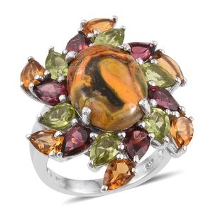 Bumble Bee Jasper, Multi Gemstone Platinum Over Sterling Silver Ring (Size 7.0) TGW 15.020 cts.