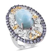 GP Larimar, Multi Gemstone 14K YG and Platinum Over Sterling Silver Openwork Elongated Ring (Size 7.0) TGW 8.90 cts.