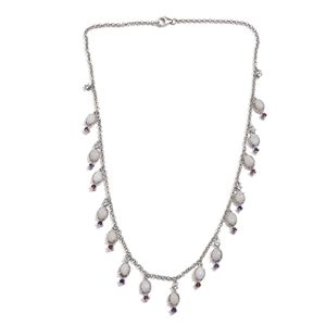 Australian White Opal, Multi Gemstone Platinum Over Sterling Silver Dangle Necklace (18 in) TGW 9.94 cts.