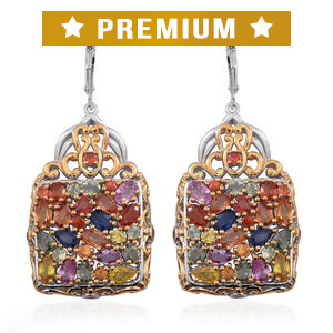 Multi Sapphire 14K YG Over and Sterling Silver Lever Back Openwork Cluster Earrings TGW 10.880 Cts.
