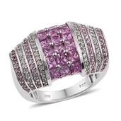 Madagascar Pink Sapphire, White Zircon Platinum Over Sterling Silver Statement Ring (Size 7.0) TGW 3.04 cts.