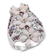 Australian White Opal, Tanzanite, Orissa Rhodolite Garnet Platinum Over Sterling Silver Elongated Openwork Floral Ring (Size 5.0) TGW 3.08 cts.