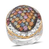 Multi Sapphire 14K YG Over and Sterling Silver Openwork Cluster Ring (Size 9.0) TGW 5.900 cts.