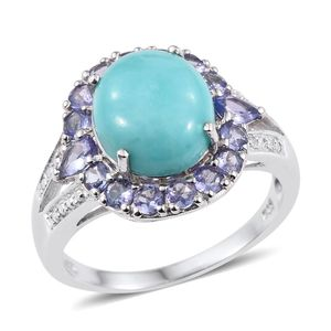 Sonoran Blue Turquoise, Tanzanite Platinum Over Sterling Silver Split Ring (Size 9.0) TGW 5.770 cts.
