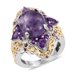 Utah Tiffany Stone, Amethyst, Mozambique Garnet 14K YG and Platinum Over Sterling Silver Ring (Size 5.0) TGW 9.770 cts.