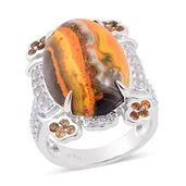 Bumble Bee Jasper, Brazilian Citrine, White Topaz Sterling Silver Ring (Size 9.0) TGW 12.26 cts.