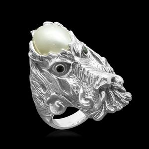 Pearl Expressions Mabe Pearl, Simulated Black Diamond Sterling Silver Dragon Head Ring (Size 5.0) TGW 0.15 cts.