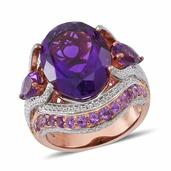 Amethyst 14K RG Over Sterling Silver Cocktail Ring (Size 10.0) TGW 11.36 cts.